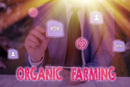 Handwriting text Organic Farming. Conceptual photo an integrated farming system that strives for sustainability