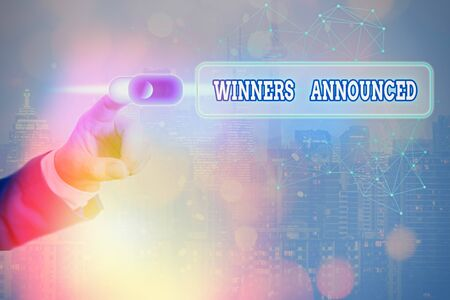 Conceptual hand writing showing Winners Announced. Concept meaning Announcing who won the contest or any competition 写真素材