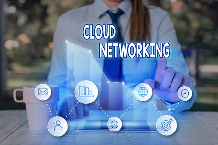 Handwriting text Cloud Networking. Conceptual photo is term describing access of networking resources