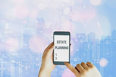 Handwriting text writing Estate Planning. Conceptual photo The management and disposal of that an individual s is estate 스톡 콘텐츠