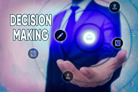 Text sign showing Decision Making. Business photo text The act of deciding between two or more possibilities Foto de archivo