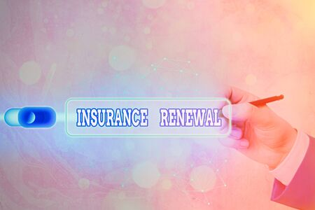 Text sign showing Insurance Renewal. Business photo text Protection from financial loss Continue the agreement 写真素材