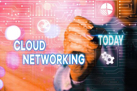 Word writing text Cloud Networking. Business photo showcasing is term describing access of networking resources