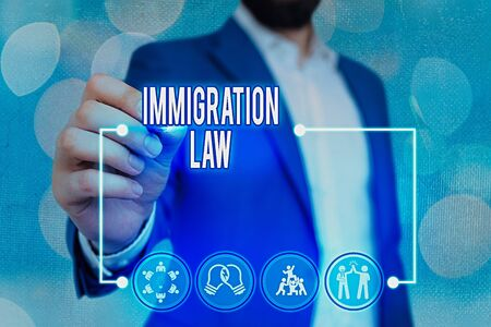 Text sign showing Immigration Law. Business photo text Emigration of a citizen shall be lawful in making of travel