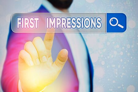 Text sign showing First Impressions. Business photo showcasing What an individual thinks of you when they first meet you Banque d'images