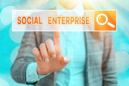 Handwriting text writing Social Enterprise. Conceptual photo Business that makes money in a socially responsible way