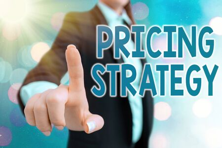 Writing note showing Pricing Strategy. Business concept for set maximize profitability for unit sold or market overall
