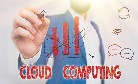 Word writing text Cloud Computing. Business photo showcasing use a network of remote servers hosted on the Internet