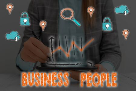 Text sign showing Business People. Business photo showcasing People who work in business especially at an executive level