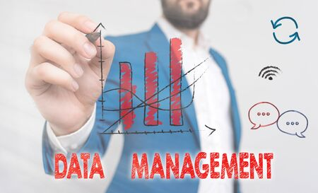 Word writing text Data Management. Business photo showcasing The practice of organizing and maintaining data processes