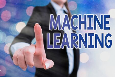 Writing note showing Machine Learning. Business concept for give computers the ability to be taught with data