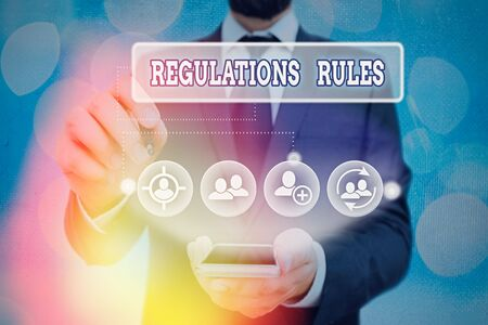Text sign showing Regulations Rules. Business photo showcasing Standard Statement Procedure govern to control a conduct