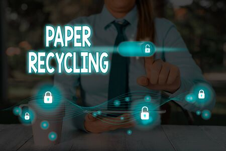 Text sign showing Paper Recycling. Business photo text Using the waste papers in a new way by recycling them