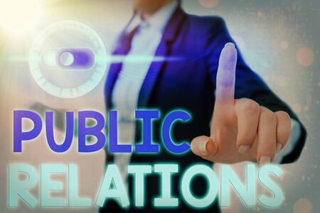 Conceptual hand writing showing Public Relations. Concept meaning practice managing spread of information between individual