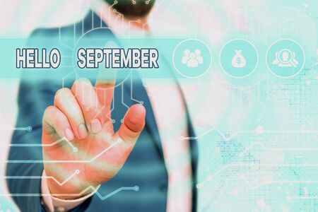 Text sign showing Hello September. Business photo showcasing Eagerly wanting a warm welcome to the month of September Banco de Imagens