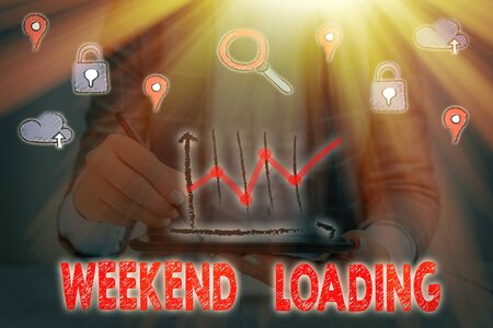 Text sign showing Weekend Loading. Business photo showcasing Starting Friday party relax happy time resting Vacations