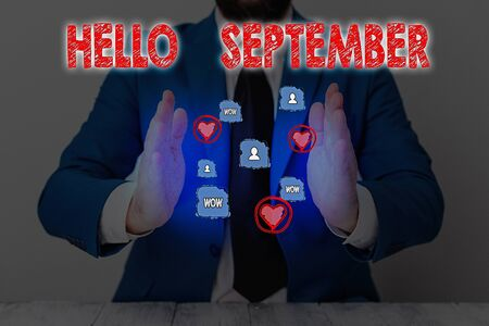 Text sign showing Hello September. Business photo text Eagerly wanting a warm welcome to the month of September Banco de Imagens