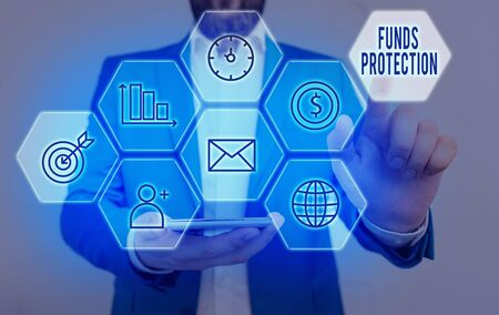 Writing note showing Funds Protection. Business concept for promises return portion initial investment to investor.