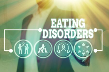 Text sign showing Eating Disorders. Business photo text any of a range of psychological abnormal food habits 版權商用圖片