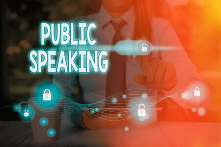 Text sign showing Public Speaking. Business photo text talking showing stage in subject Conference Presentation
