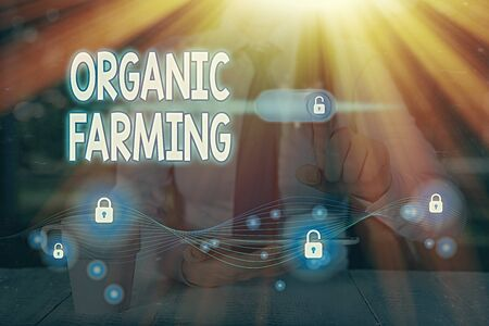 Text sign showing Organic Farming. Business photo text an integrated farming system that strives for sustainability