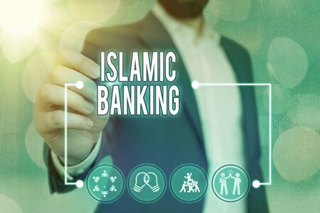Text sign showing Islamic Banking. Business photo text Banking system based on the principles of Islamic law