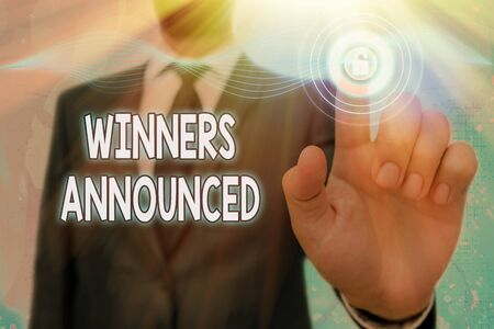 Handwriting text Winners Announced. Conceptual photo Announcing who won the contest or any competition