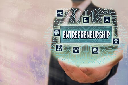Writing note showing Entrepreneurship. Business concept for Process of designing launching and running a new business