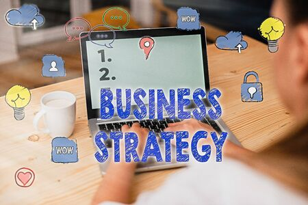Word writing text Business Strategy. Business photo showcasing Management game plan to achieve desired goal or objective