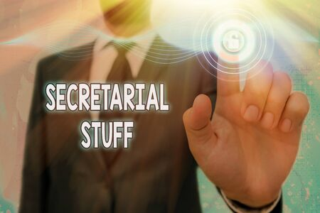 Handwriting text Secretarial Stuff. Conceptual photo Secretary belongings Things owned by an individualal assistant
