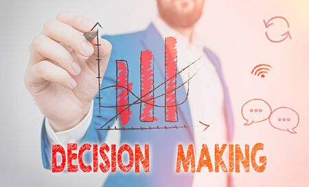 Word writing text Decision Making. Business photo showcasing The act of deciding between two or more possibilities