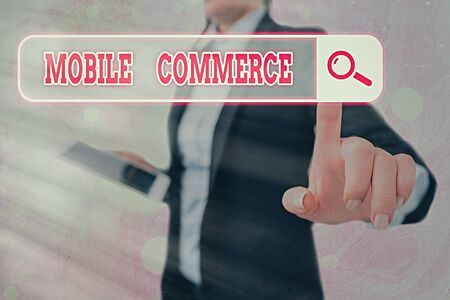 Writing note showing Mobile Commerce. Business concept for Using mobile phone to conduct commercial transactions online