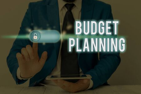 Writing note showing Budget Planning. Business concept for The written description about current and future expenses