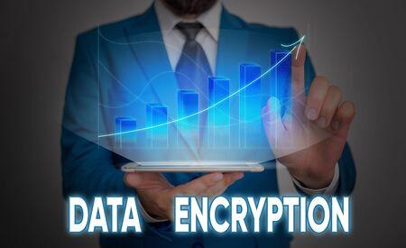 Handwriting text Data Encryption. Conceptual photo Symmetrickey algorithm for the encrypting electronic data