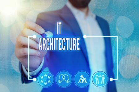 Text sign showing It Architecture. Business photo text Architecture is applied to the process of overall structure
