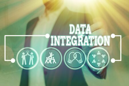 Text sign showing Data Integration. Business photo text combination of technical and business processes to combine