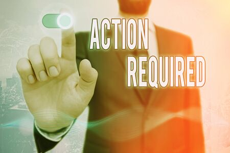Conceptual hand writing showing Action Required. Concept meaning Regard an action from someone by virtue of their position Stock fotó
