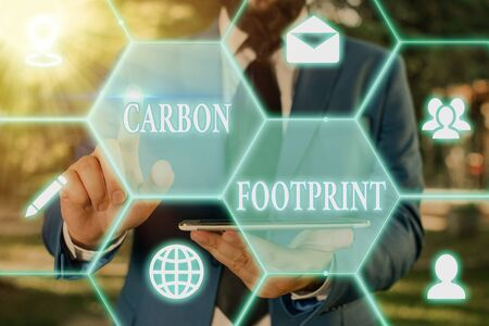 Writing note showing Carbon Footprint. Business concept for amount of dioxide released atmosphere result of activities