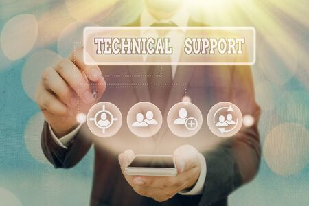 Text sign showing Technical Support. Business photo showcasing Repair and advice services to users of their products