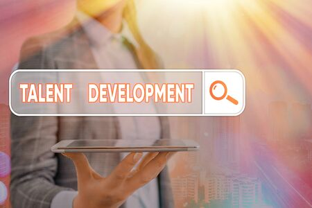 Conceptual hand writing showing Talent Development. Concept meaning Building Skills Abilities Improving Potential Leader Stockfoto