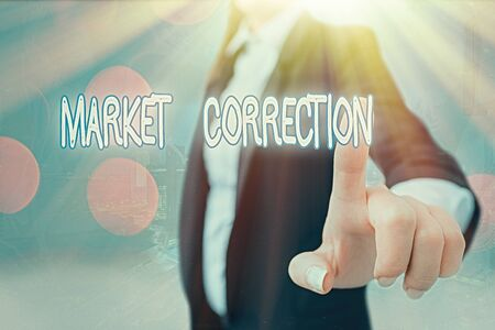 Writing note showing Market Correction. Business concept for When prices fall 10 percent from the 52 week high