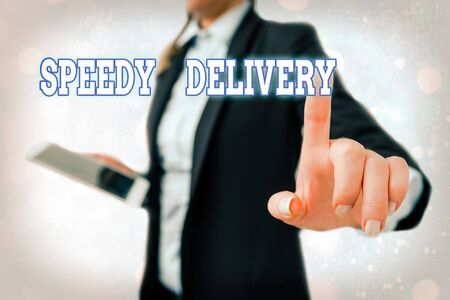 Writing note showing Speedy Delivery. Business concept for provide products in fast way or same day shipping overseas