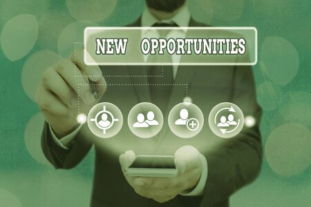 Text sign showing New Opportunities. Business photo showcasing A situation that makes it possible to do something Stok Fotoğraf