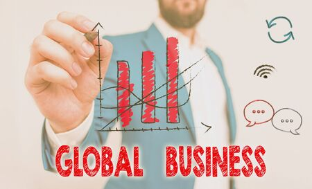 Word writing text Global Business. Business photo showcasing Trade and business system a company doing across the world