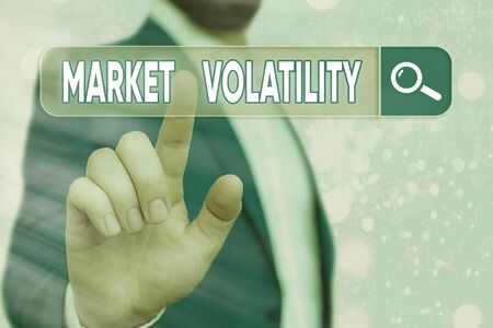 Text sign showing Market Volatility. Business photo showcasing Underlying securities prices fluctuates Stability status