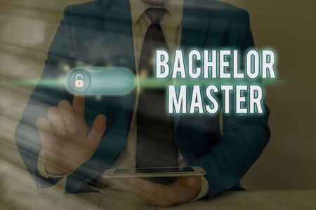 Writing note showing Bachelor Master. Business concept for An advanced degree completed after bachelor s is degree Imagens