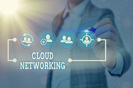 Writing note showing Cloud Networking. Business concept for is term describing access of networking resources