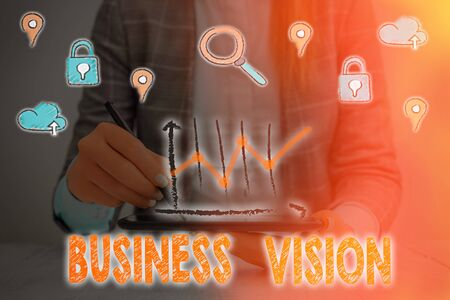 Text sign showing Business Vision. Business photo showcasing grow your business in the future based on your goals