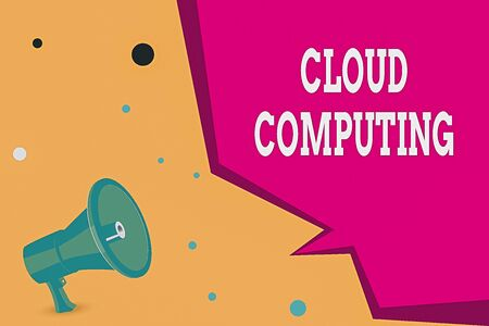 Conceptual hand writing showing Cloud Computing. Concept meaning use a network of remote servers hosted on the Internet Megaphone Loudspeaker and Blank Geometric shape Half Speech Bubble