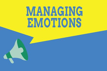 Word writing text Managing Emotions. Business photo showcasing Controlling feelings in oneself Maintain composure Megaphone Loudspeaker Amplify and Blank Geometric shape Half Speech Bubble Stock Photo